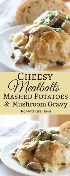 This is yummy comfort food right here- Cheesy homemade meatballs with mashed potatoes in a creamy homemade mushroom gravy! It's a great Sunday family dinner. family dinner Cheesy Meatballs, Mashed Potatoes and Mushroom Gravy - No Plate Like Home Loaf Recipes, Casserole Recipes, Gourmet Recipes, Cooking Recipes, Meat And Potatoes Recipes, Savoury Recipes, Casserole Dishes, Easy Recipes, Meatballs And Gravy