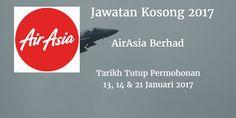 Jawatan Kosong AirAsiaBerhad 13 14 & 21 Januari 2017  AirAsia Berhadmencari calon-calon yang sesuai untuk mengisi kekosongan jawatan AirAsia Berhad terkini 2017.  Jawatan Kosong AirAsiaBerhad 13 14 & 21 Januari 2017  Warganegara Malaysia yang berminat bekerja di AirAsia Berhad dan berkelayakan dipelawa untuk memohon sekarang juga. TEMUDUGA TERBUKA CABIN CREW Tarikh / Hari  : 13 January 2017   Tempat  AirAsia OfficeLangkawi International Airport Tarikh / Hari  : 14 Januari 2017 Tempat…