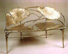 bronze ginko leafed bench by claude Lalanne | Ginko Banquette or two seater by Claude Lalanne