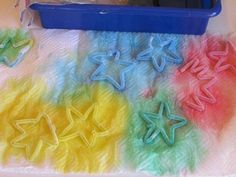 Tie dying chenille stems (pipe cleaners) is a fun little process we explored in our classroom during our study on stars. This tie dye process could really be used for any shape made out of a chenille stem but we happened to be talking about stars on this particular day…