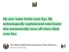 My Water Bottle More Expensive than Electronics #Humor #Funny #Satire #Life #Nomad #Showerthought #Blog #Journal #Daily #Irony #Tech #Design