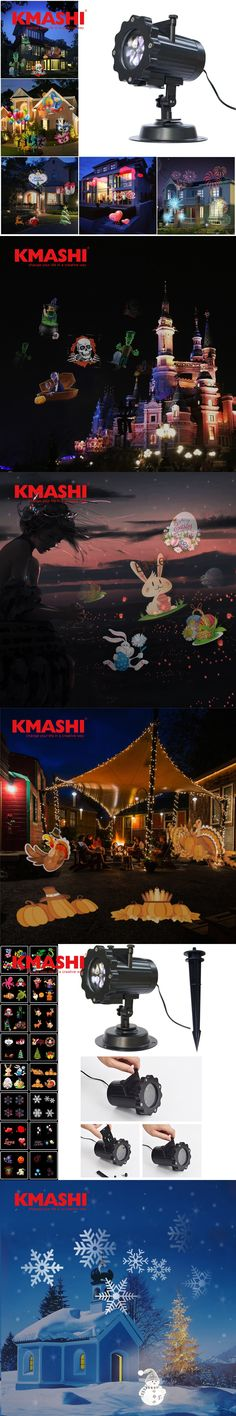 Kmashi 16 PCS Pattern Lens Christmas Led Projector Light Show Outdoor Waterproof for Garden Wall Holiday Party Decorations EU US