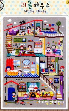 Huisje  landhuis  geteld cross stitch Chart. door GeniesCrossstitch