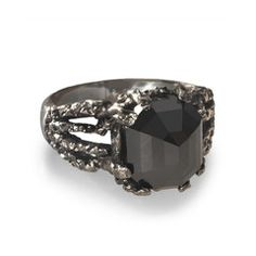 Edgy Black Diamond Ring for both men and women. A cool alternative engagement ring or fabulous statement piece!