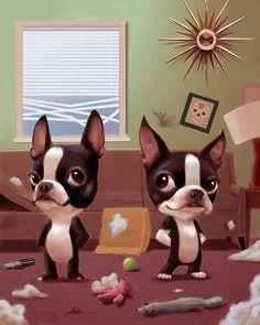 Mid Century Boston Terriers making a mess by rubenacker on Etsy, $18.00