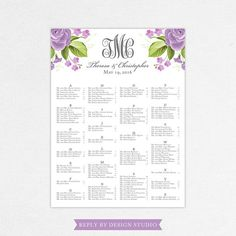 Wedding Seating Chart Kyle  Digital File Diy Pdf Printable