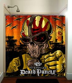 Fatboy Studio printed waterproof polyester fabric shower curtain with… Cool Shower Curtains, Five S, Five Fingers, Pin Up Girls, Artwork Prints, Heavy Metal, Rock And Roll, Bathing, Retro Vintage
