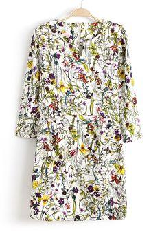 White Long Sleeve Floral Straight Dress - Sheinside.com