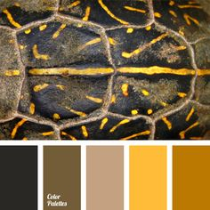 A monochrome combination of brown colors – beige, bog brown, mustard, honey, and almost black. This palette is a great tip for a designer based on harmonious interaction of shades of the same color. In general, brown is a classic color for decoration of cozy homes.