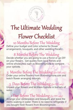 Your wedding flowers are one of the most important details of your big day and can often be one of the most daunting items to plan. In this post we break it down month by month to make sure your planning stays on track and stress free! www.bloomingmore.com