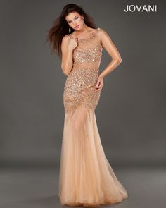 Jovani Dress 171100 in Rose/Gold Talk about the prom dress I WISH I wore! Normally I wear more simple looking gowns but  hey, with a dress like this we can make an exception. I'm not too sure how I feel about the actual back of the dress because it's literally one strap going across your back and everything else is exposed but there's NO doubt about the front. BEAUTIFULLL.
