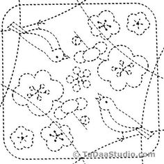 Japanese Embroidery Patterns Home / Birds 84 - Sashiko White Sampler - Sashiko Embroidery, Embroidery Sampler, Paper Embroidery, Learn Embroidery, Japanese Embroidery, Crewel Embroidery, Hand Embroidery Patterns, Embroidery Designs, Embroidery Scissors