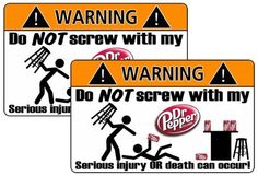Dr Pepper Warning Sticker Soda Can Cola Pop Dr Pepper, Work Quotes, Funny Cards, Funny Quotes, Stuffed Peppers, Humor, Pepper Ideas, Funny Stuff, Sodas