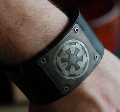 Star Wars Galactic Empire Logo Riveted On Black by LauraBJewelry