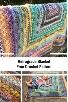 Retrograde Multi Stitch Crochet Blanket Pattern - Knit And Crochet Daily Crochet Afghans, Baby Blanket Crochet, Crochet Blankets, Crochet Square Patterns, Crochet Stitches Patterns, Knitting Patterns, Afghan Patterns, Crochet Ideas, Stitch Crochet