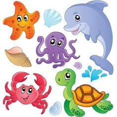Illustration of Sea fishes and animals collection 3 - vector illustration vector art, clipart and stock vectors.