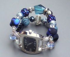 Blue and Silver Beaded Bracelet Watch, Interchangeable and Stretchy | sassylu - Jewelry on ArtFire