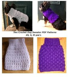 Crochet Dog Sweater 2 PDF Patterns for XS S M L for Small Breed Dogs