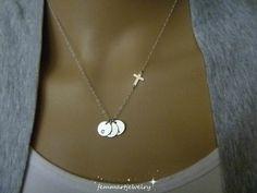 Croix collier femme croix avec collier Initial par FemmartJewelry