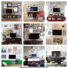Position the flat screen above a console and gather a group of artwork to surround the television with prints, photographs, or other favorite framed works of art.