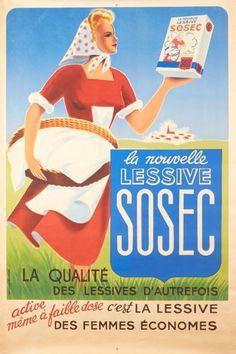 la nouvelle lessive Sosec - la qualité des lessives d'autrefois - 1946 - illustration de Nazziroli -