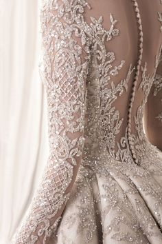 detail ! Krikor Jabotian 2018 bridal collection: sophisticated wedding dresses with impeccable detailing; longsleeve embellished bodice princess ball gown wedding dress; Krikor Jabotian 2018 Wedding Dresses