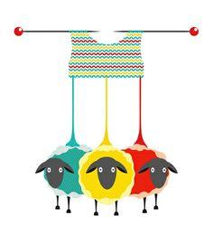 Illustration of Three Knitting Yarn Sheep. graphic illustration of three colored sheep with needles knitting a sweater. vector art, clipart and stock vectors. Knitting Humor, Knitting Yarn, Knitting Tattoo, Knitting Needles, Hand Knitting, Sheep Vector, Sheep Art, Knit Art, Yarn Ball