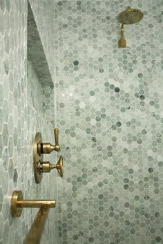 Unlacquered Brass Thermostatic Shower Design Ideas, Pictures, Remodel and Decor