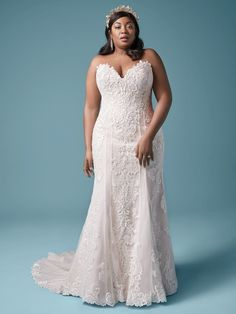 A classic lace plus size sheath wedding gown for the romantic bride. Designed for you by Maggie Sottero, find it in a bridal store today! Plus Size Bridal Dresses, Colored Wedding Dresses, Dream Wedding Dresses, Designer Wedding Dresses, Lace Wedding, Wedding Gowns, Flattering Wedding Dress, Perfect Wedding Dress, Fit N Flare