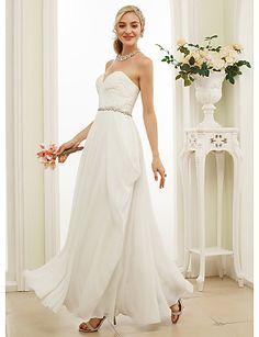 149.99  A-Line   Princess Sweetheart Neckline Floor Length Chiffon Custom Wedding  Dresses with Sash   Ribbon   Side Draping by LAN TING BRIDE® ec4a2316aae9