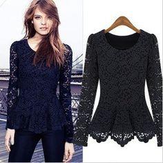 Hot! Moda feminina camisetas de manga comprida 2013 estilistas outono-manga longa o-pescoço blusa de renda camisa básica frete grátis das mulheres $22.30