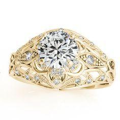 Vintage Art Deco Diamond Engagement Ring Setting 18k Yellow Gold .19ct - Allurez.com