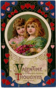 Winsch artwork Valentine Postcard of Girls with Roses