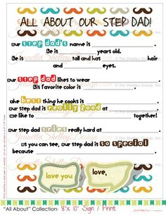 All About My Bonus Dad Step Father S Day Gift 5 X 7 Fill In