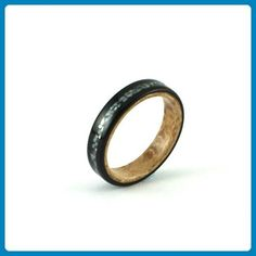 Wooden Ring - Ebony Wood Ring Lined With Birds Eye Maple And Inlaid With Crushed Pearl - Wedding and engagement rings (*Amazon Partner-Link)