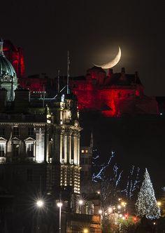 Moon, Bank and Edinburgh Castle and Tree at Christmas 2014 (Real Edinburgh)