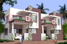 modern house paint colors exterior philippines with house balcony wall tiles pictures and front elevation of house first floor House Front Wall Design, Row House Design, Village House Design, Modern House Design, Door Design, Modern Minimalist House, Home Modern, Modern House Plans, Front Elevation Designs