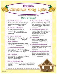 Fill-in-the blank of these Christian Christmas song lyrics to win! All songs are traditional Christian Christmas songs heard on the radio. Merry Christmas, Family Christmas, Christmas Holidays, Christmas Trivia, Christmas Riddles, Christmas Crafts, Christmas Jesus, Christmas Parties, Christmas Things