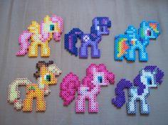 MLP:FIM Perler Magnet--Choose one--Rainbow Dash, Rarity, Twilight Sparkle, Fluttershy, Applejack, or Pinkie Pie via Etsy