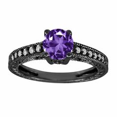 Purple Amethyst Engagement Ring 14K Black Gold by JewelryByGaro