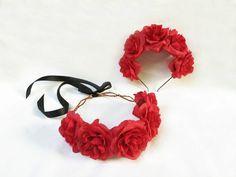 Roja diadema rosa corona de rosa roja roja por BloomDesignStudio