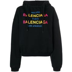 62c021f91610 BALENCIAGA Logo hoodie ( 887) ❤ liked on Polyvore featuring tops