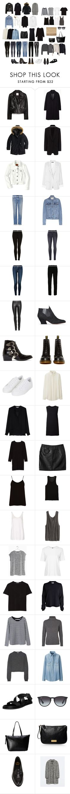 """My basic wardrobe."" by uselessdk ❤ liked on Polyvore featuring MANGO, The Row, J.Crew, rag & bone, FOSSIL, TIBI, Genetic Denim, Calvin Klein Jeans, Topshop and Frame"