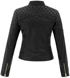ad2d6a5f58b24 kurtka damska pilotka pikowana skóra na motor biker jacket ornamenty model  #94 w sklepie fashionavenue