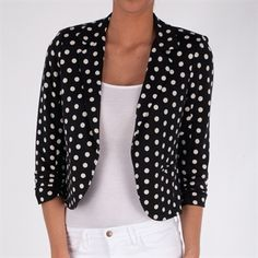 John Paul Richard Open Front Polka Dot Blazer #VonMaur #JohnPaulRichard #Black #White