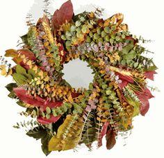 "Eucalyptus Wreath Preserved 17"" Fall Harvest"