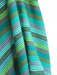GREEN Mexican FABRIC (cambaya) with colorful stripes