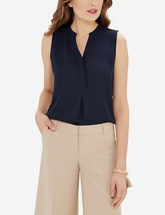 Sleeveless Trimmed Logan Blouse, Navy, M, The Limited