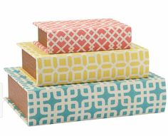 Found it at Wayfair - 3 Piece Geometric Storage Book Box Set Decorative Storage Boxes, Storage Sets, Book Storage, Hidden Storage, Storage Containers, Coffee Table Vignettes, Find A Room, Color Box, 3 Piece