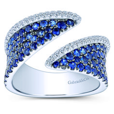 14k White Gold Wide Band Diamond A Quality Sapphire Ladies' Ring